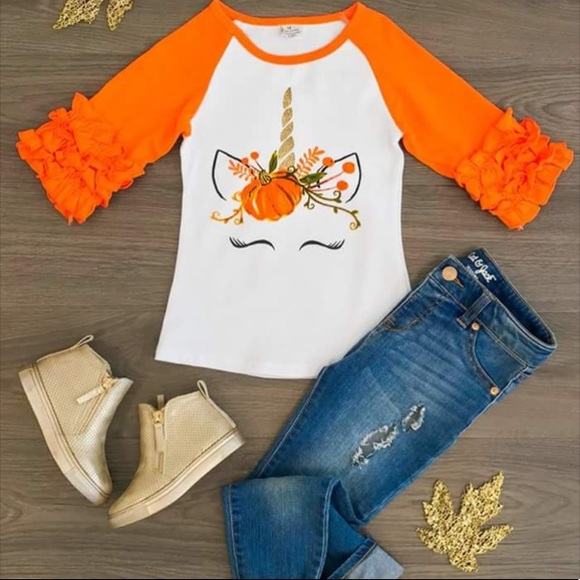 a98306601 Honeydew USA Shirts & Tops | Honeydewusa Kids Ruffle Pumpkin Unicorn ...